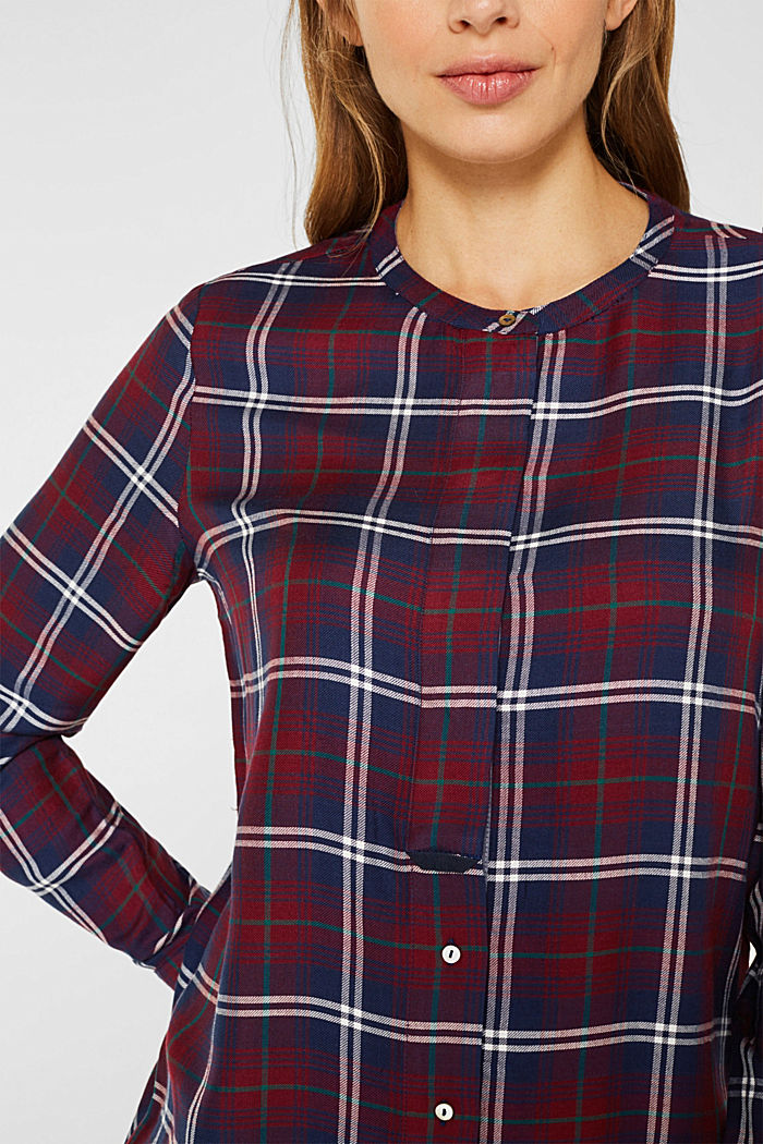 Shirt blouse in a checked pattern, GARNET RED, detail image number 2