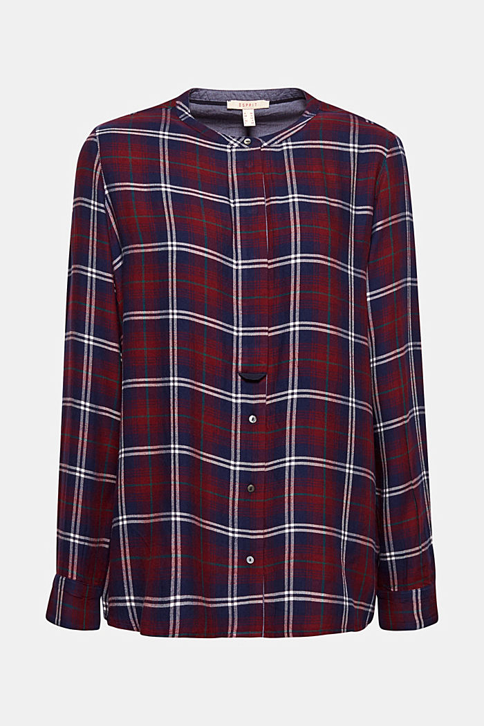 Shirt blouse in a checked pattern, GARNET RED, detail image number 6