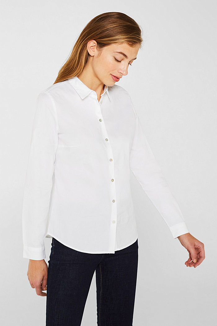 Stretch blouse with organic cotton, WHITE, detail image number 0