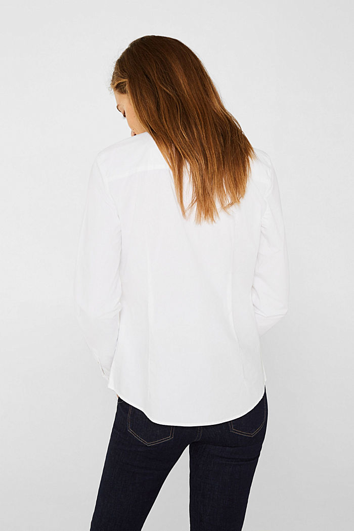 Stretch blouse with organic cotton, WHITE, detail image number 3