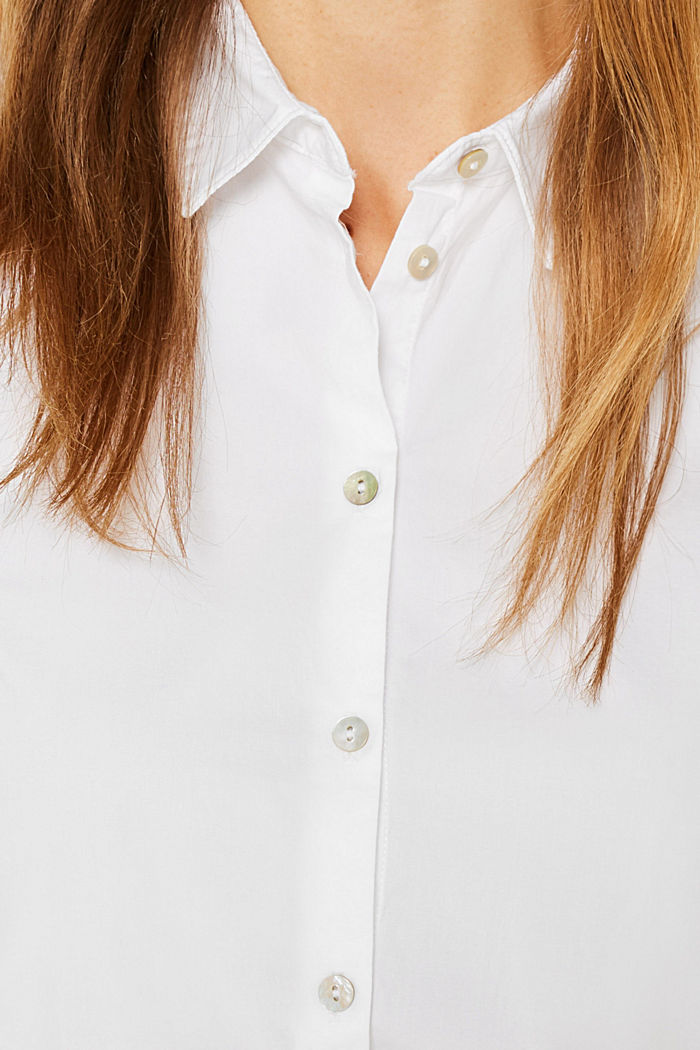 Stretch blouse with organic cotton, WHITE, detail image number 2