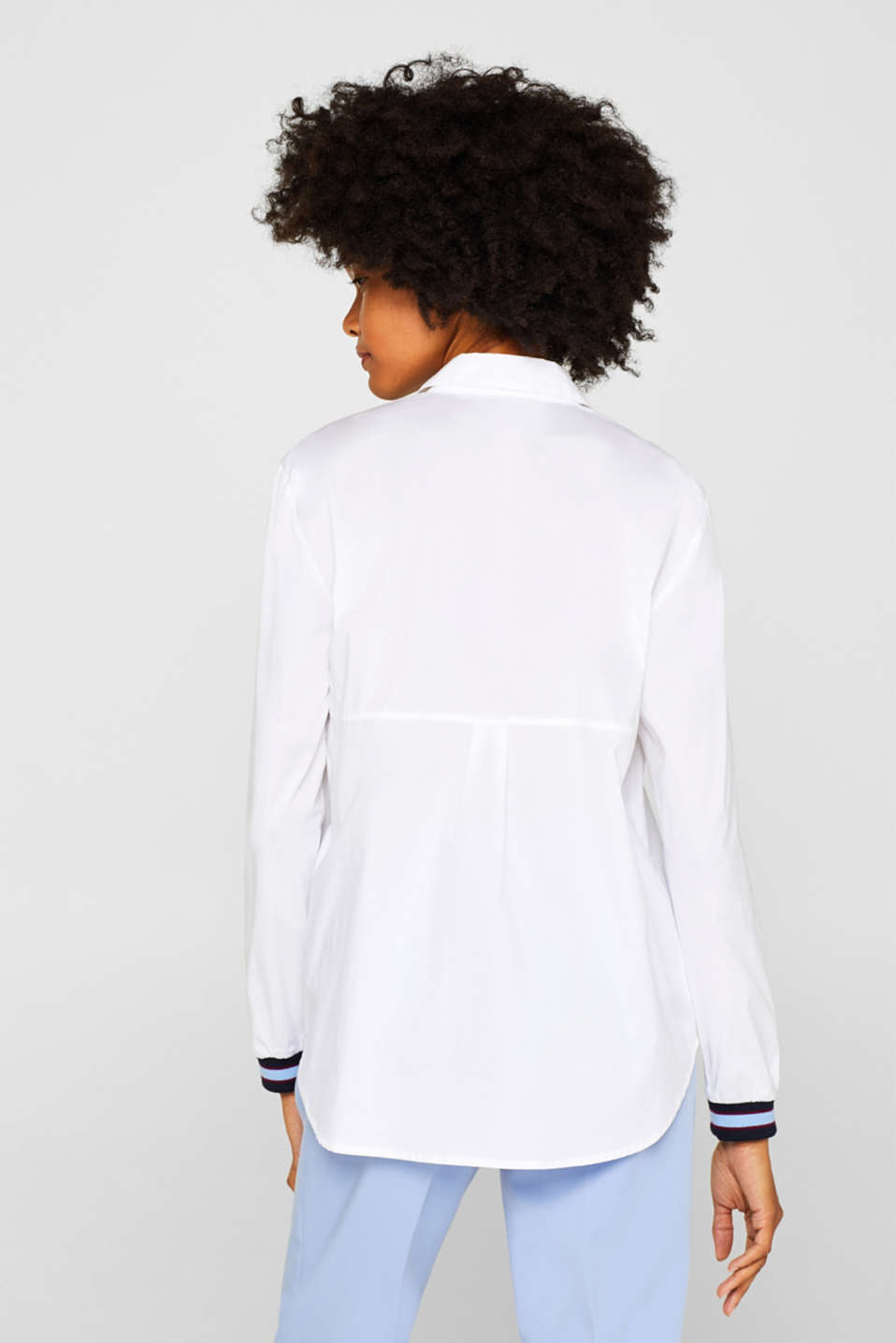 Blouse with contrasting trims, WHITE, detail image number 3