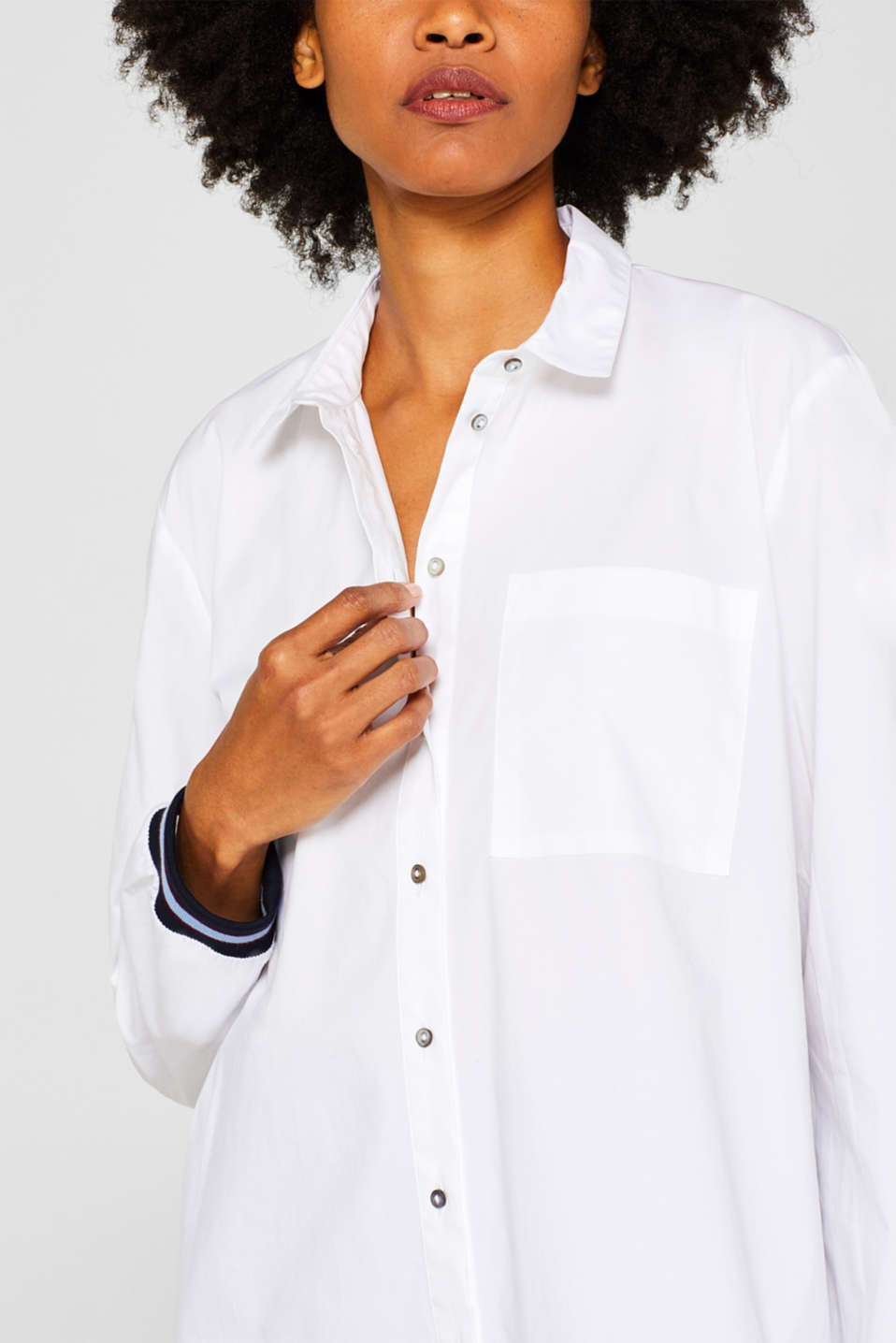 Blouse with contrasting trims, WHITE, detail image number 2