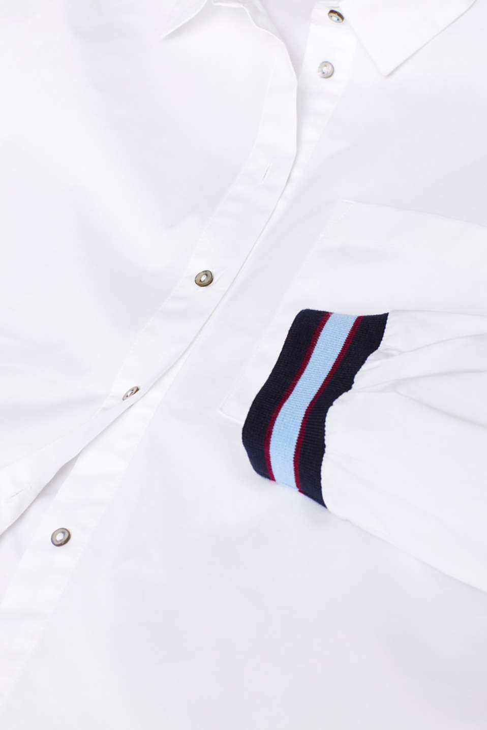 Blouse with contrasting trims, WHITE, detail image number 4