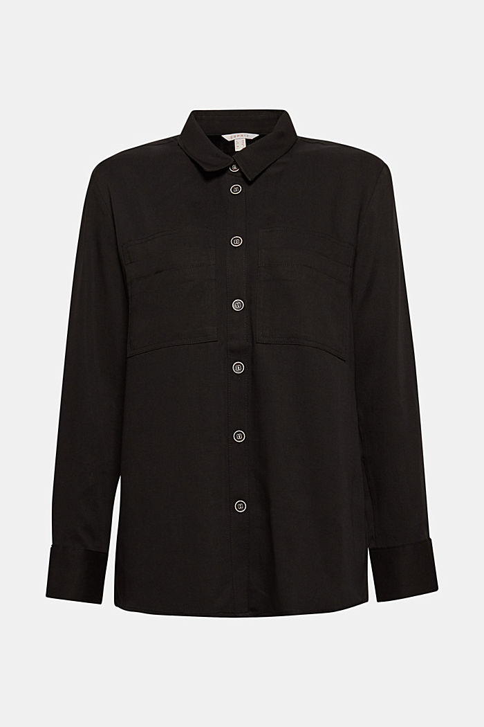 Shirt blouse made of TENCEL™, BLACK, overview