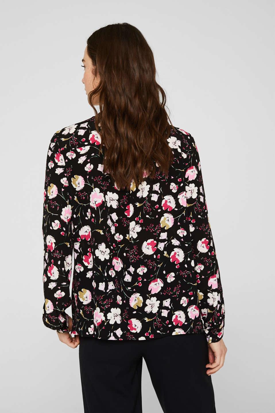 Crêpe pussycat bow blouse, BLACK, detail image number 3