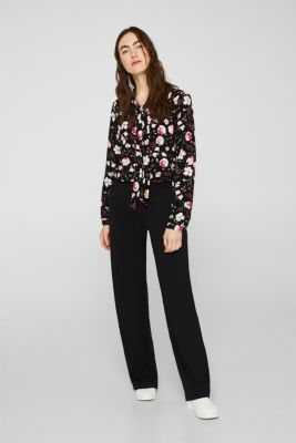 Crêpe pussycat bow blouse, BLACK, detail
