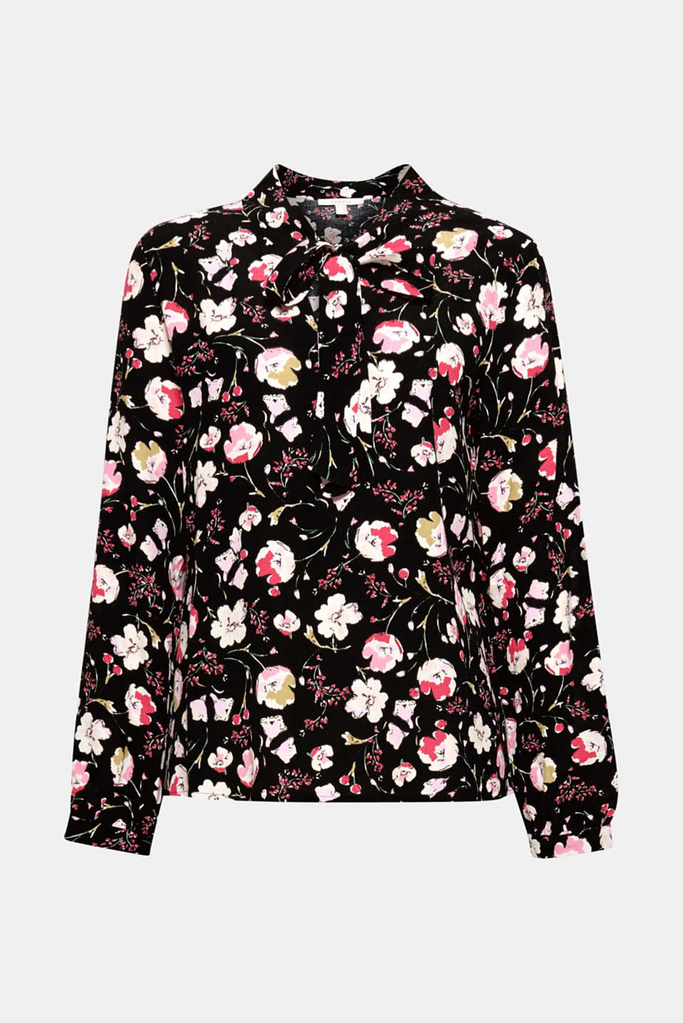 Crêpe pussycat bow blouse, BLACK, detail image number 7