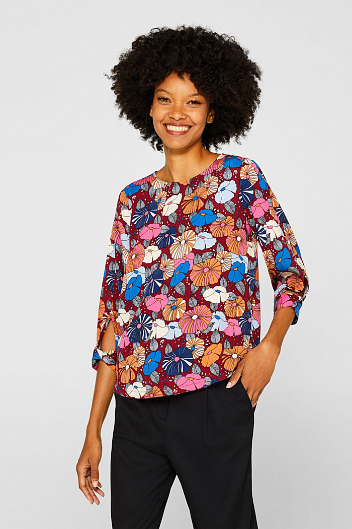 Printed blouse with fashionable sleeves, BORDEAUX RED, detail image number 0