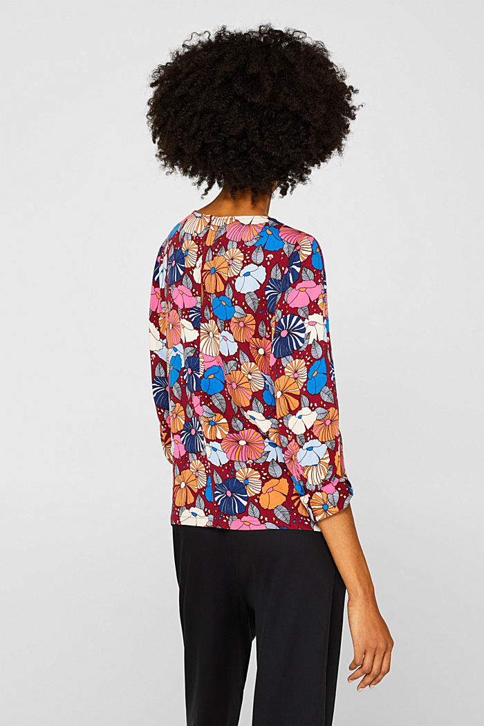 Printed blouse with fashionable sleeves, BORDEAUX RED, detail image number 3