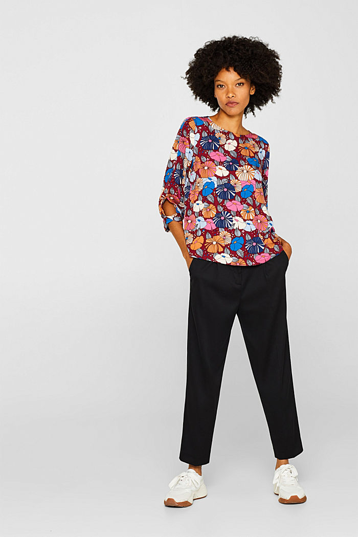 Printed blouse with fashionable sleeves, BORDEAUX RED, detail image number 1