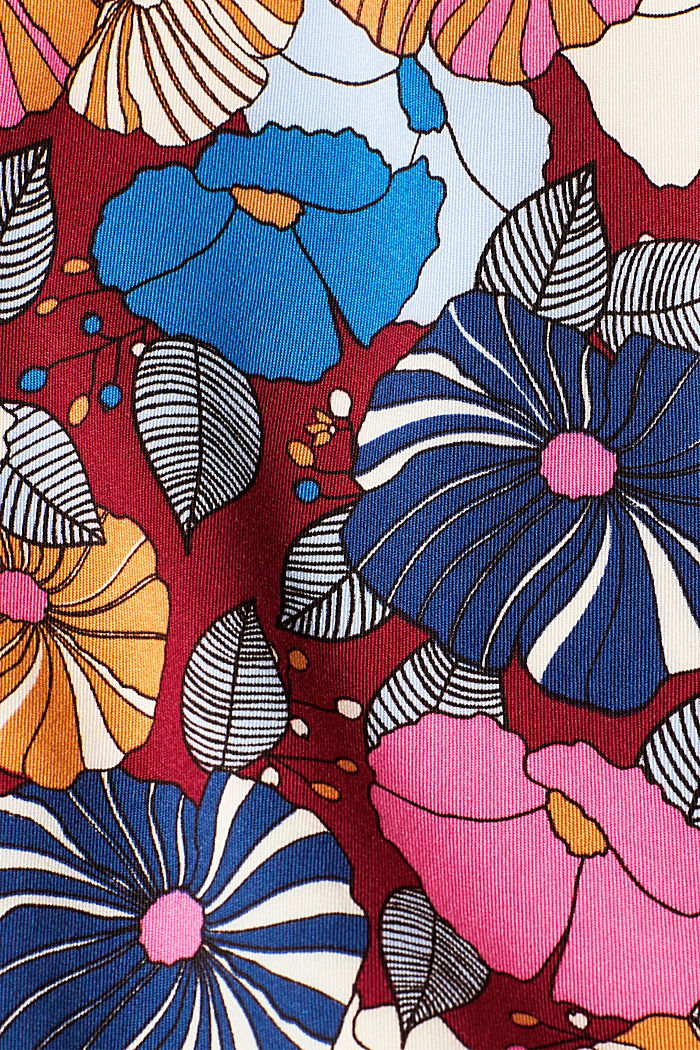Printed blouse with fashionable sleeves, BORDEAUX RED, detail image number 4