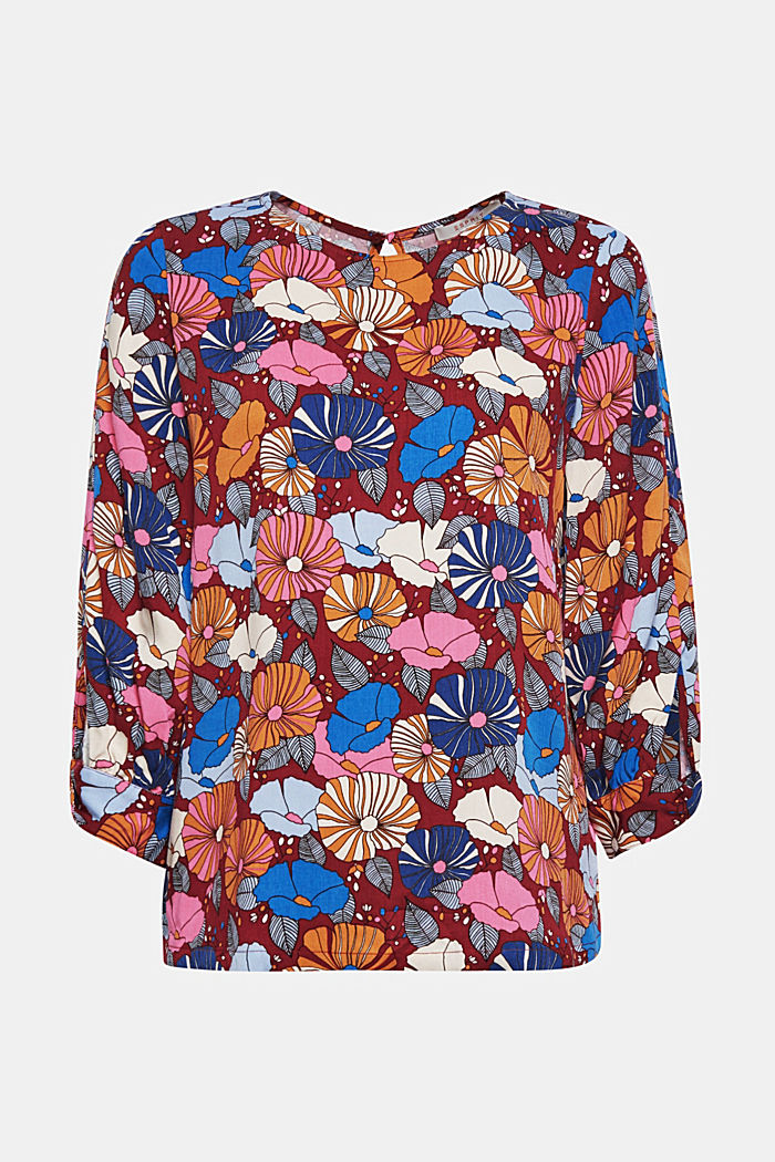 Printed blouse with fashionable sleeves, BORDEAUX RED, detail image number 5