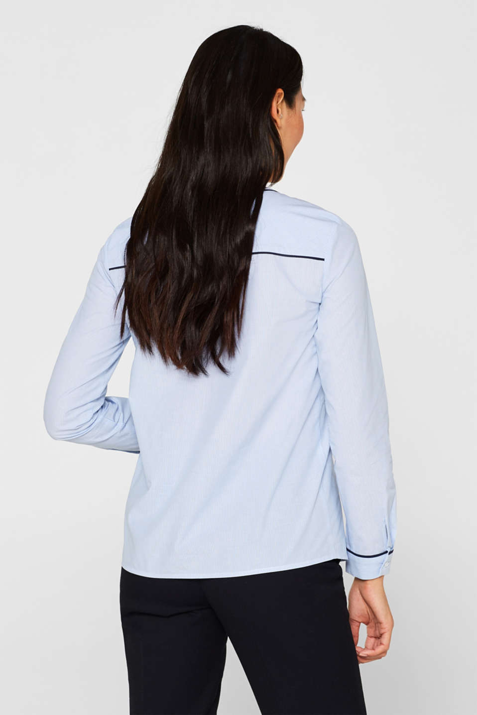 Blouse with piping, 100% cotton, LIGHT BLUE, detail image number 3