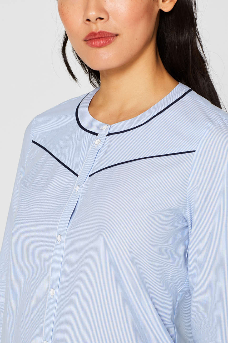 Blouse with piping, 100% cotton, LIGHT BLUE, detail image number 2