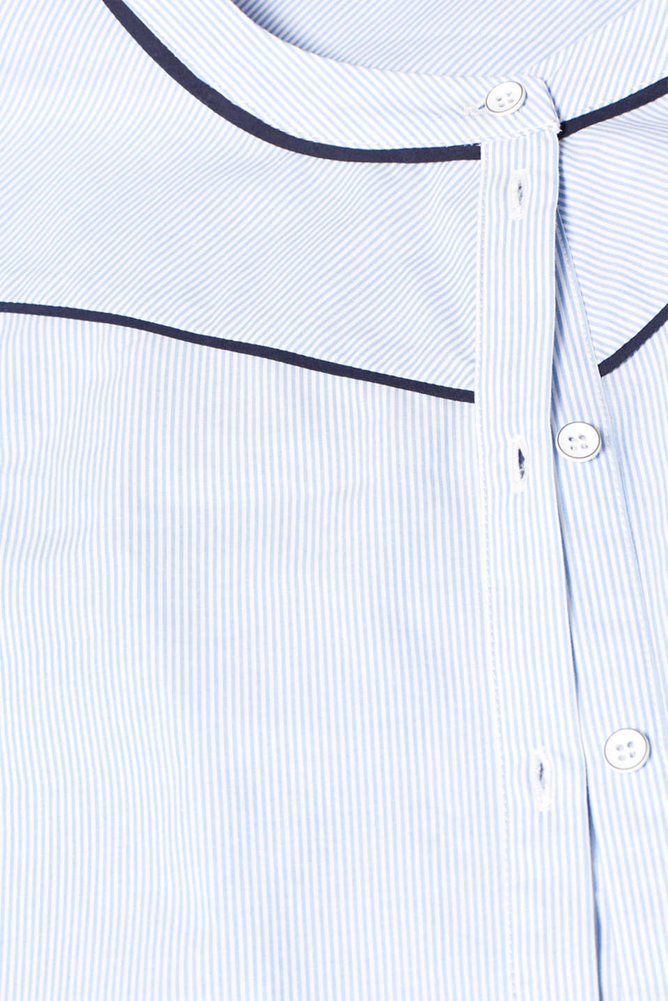 Blouse with piping, 100% cotton, LIGHT BLUE, detail image number 4
