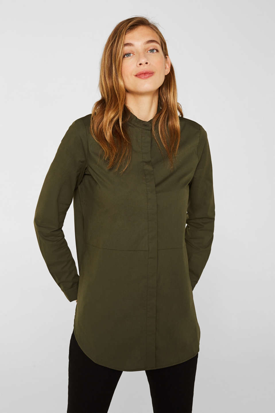 Band collar blouse in stretch cotton