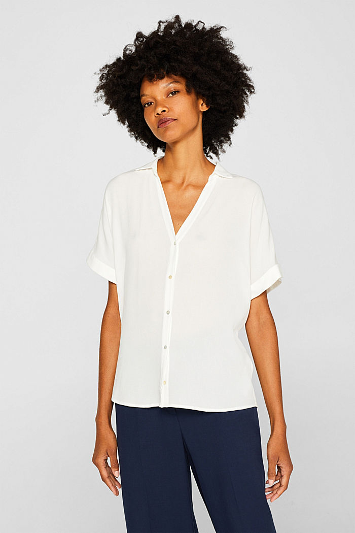Crêpe blouse with batwing sleeves, OFF WHITE, detail image number 0