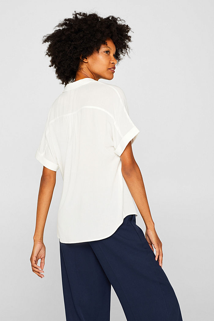 Crêpe blouse with batwing sleeves, OFF WHITE, detail image number 3