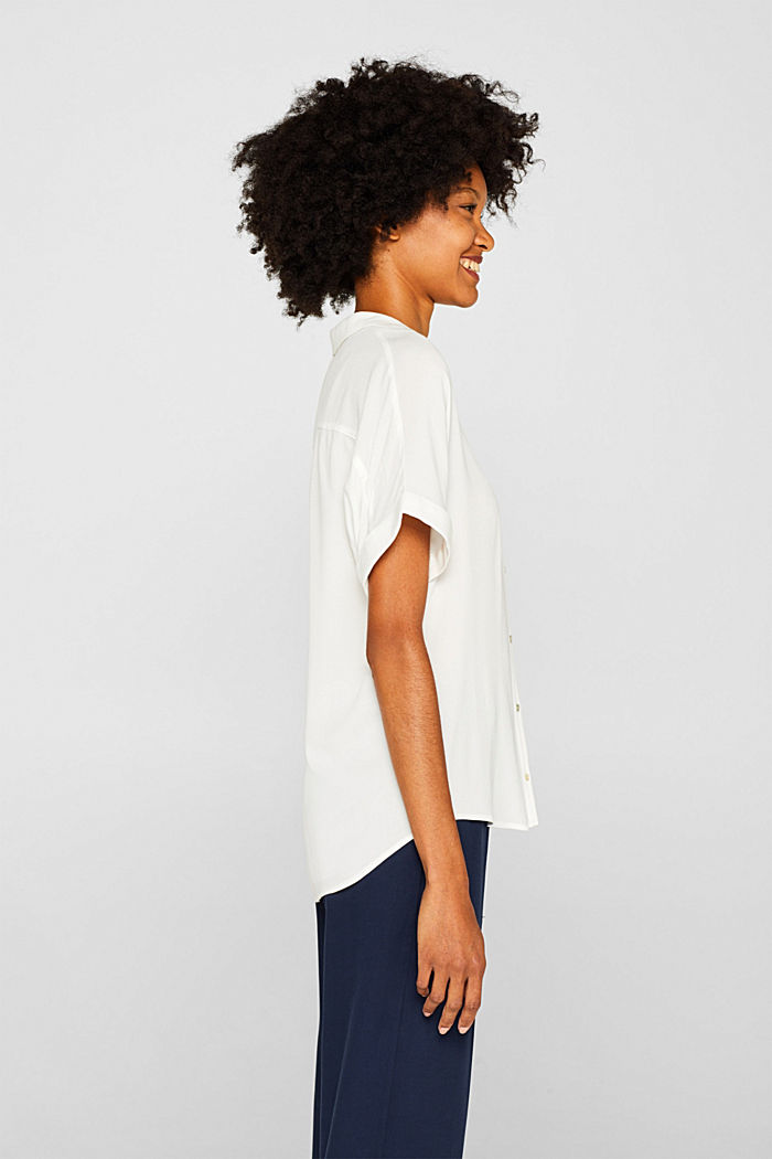 Crêpe blouse with batwing sleeves, OFF WHITE, detail image number 5