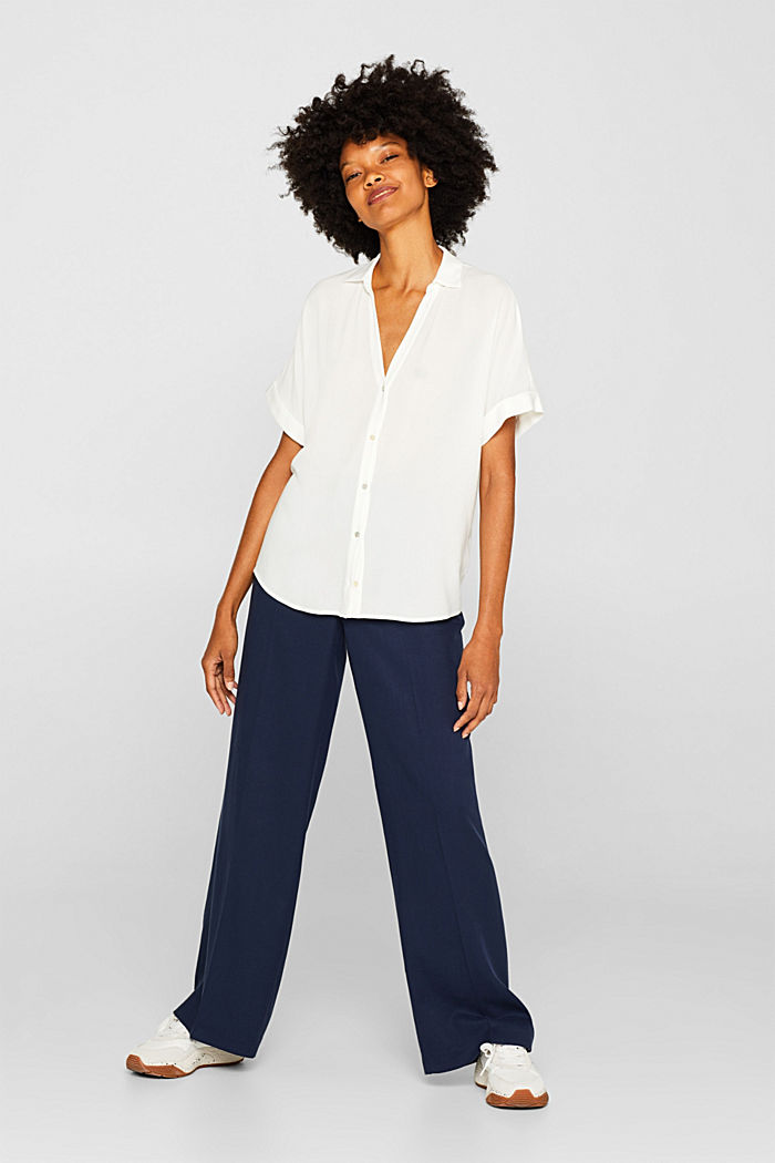Crêpe blouse with batwing sleeves, OFF WHITE, detail image number 1