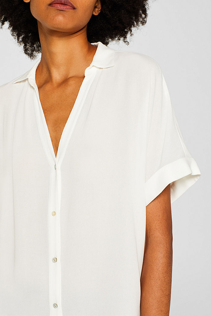 Crêpe blouse with batwing sleeves, OFF WHITE, detail image number 2