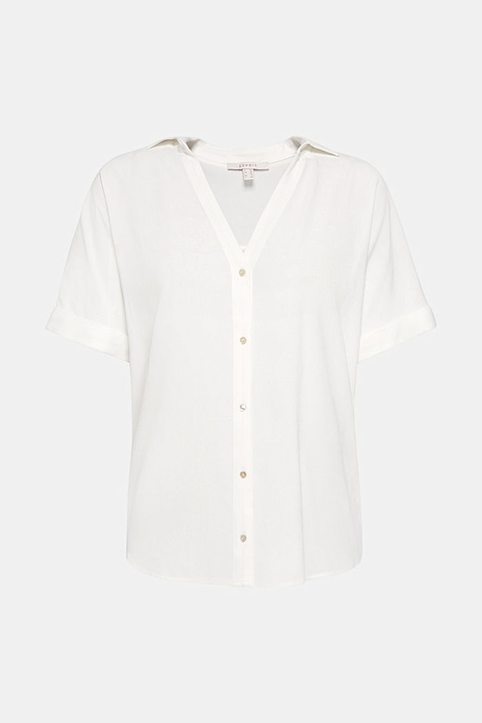 Crêpe blouse with batwing sleeves, OFF WHITE, detail image number 6