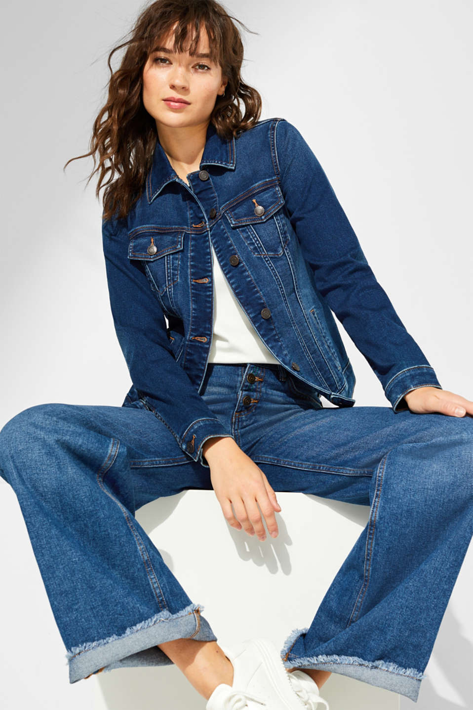 Esprit - Veste en jean stretch en denim doux