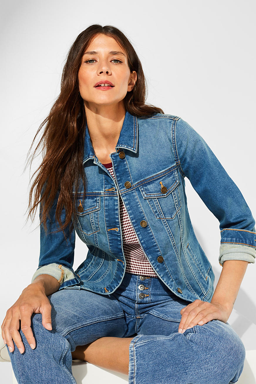 Stretch-Jeans-Jacke aus softem Denim