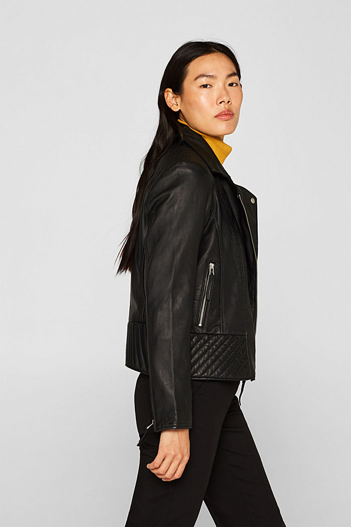 Made of leather: Biker jacket with topstitched details, BLACK, overview