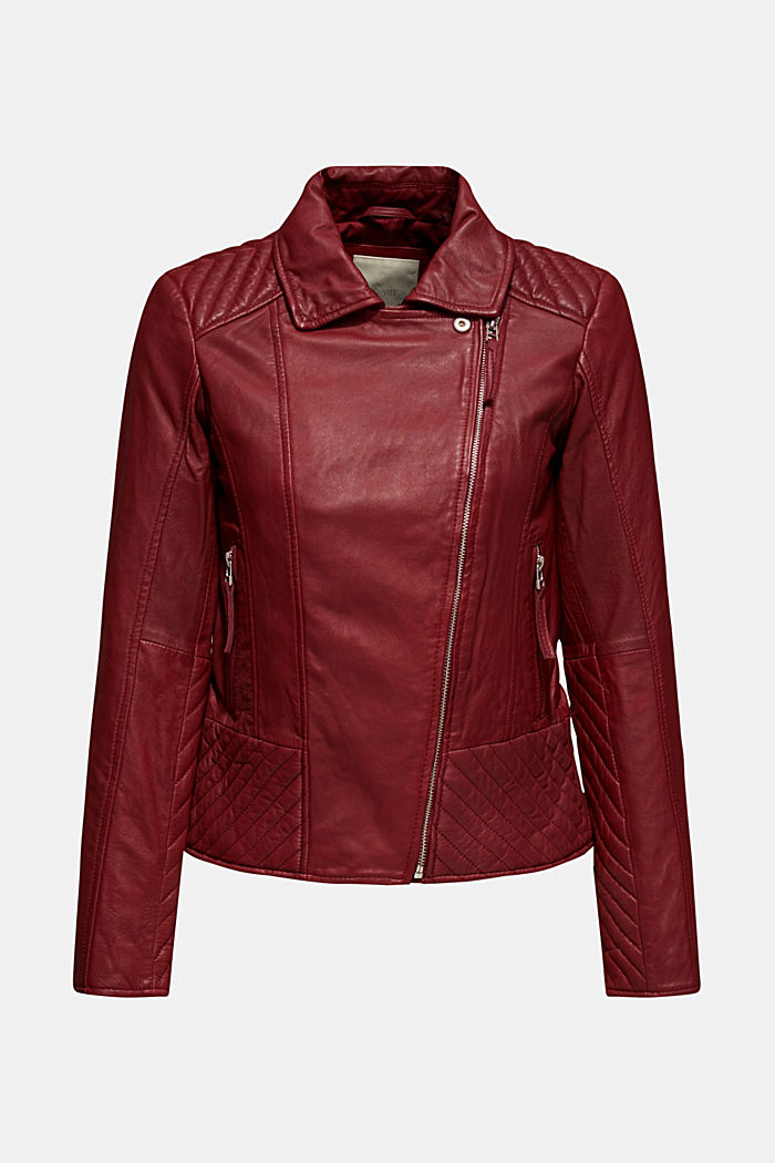 Made of leather: Biker jacket with topstitched details, BORDEAUX RED, detail image number 0
