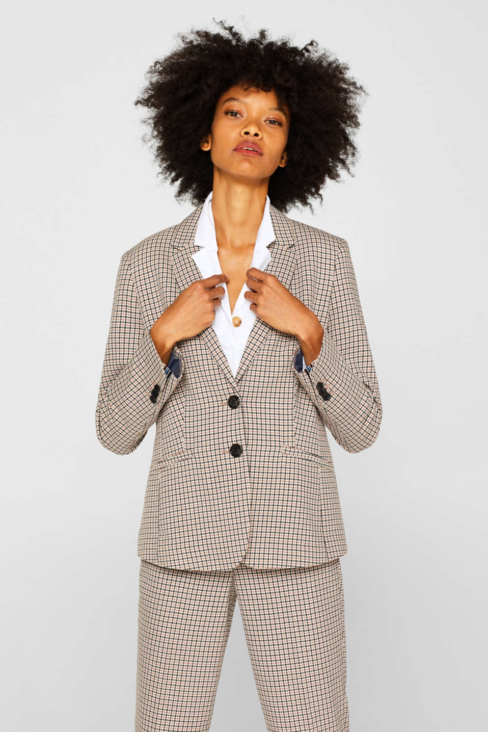 Esprit - Stretch blazer with a small check pattern
