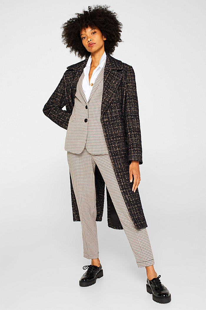 Stretch blazer with a small check pattern, CAMEL, detail image number 1