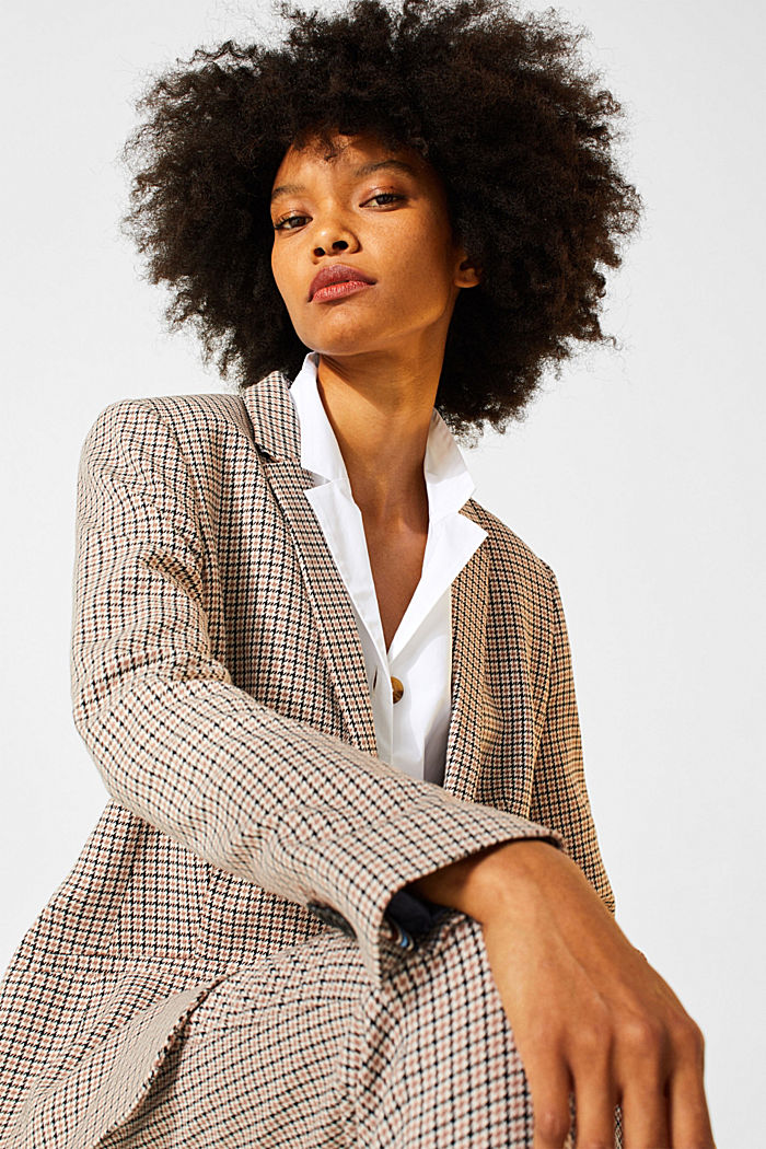 Stretch blazer with a small check pattern, CAMEL, detail image number 2