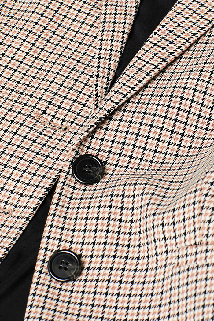 Stretch blazer with a small check pattern, CAMEL, detail image number 4