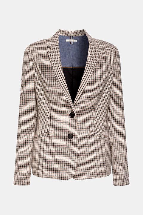 Stretch blazer with a small check pattern
