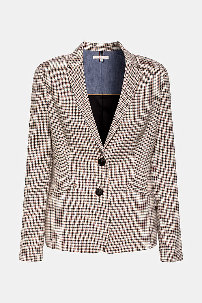 Stretch blazer with a small check pattern, CAMEL, detail image number 0
