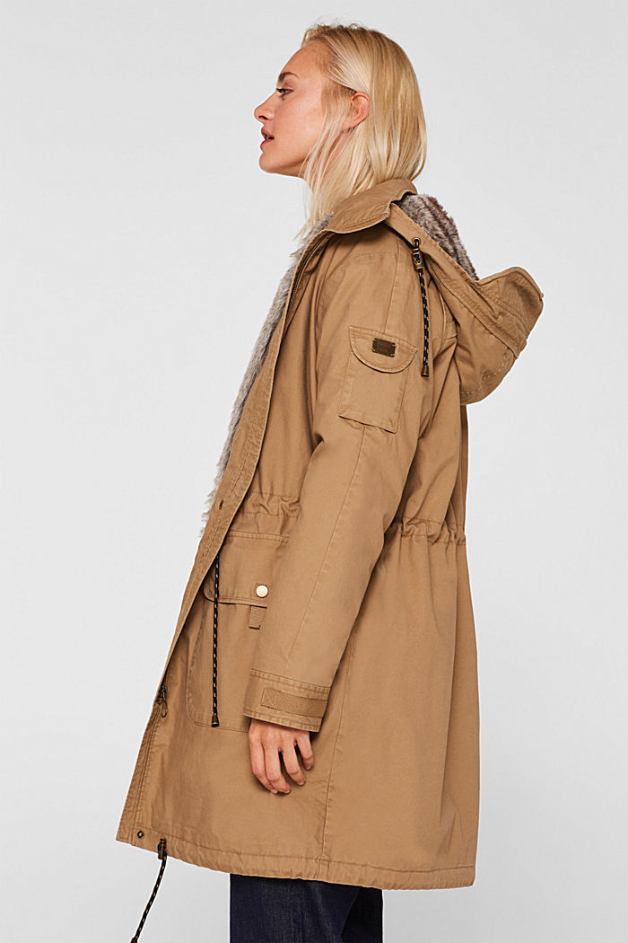 2-in-1 parka with an integrated faux fur jacket, BARK, detail image number 5