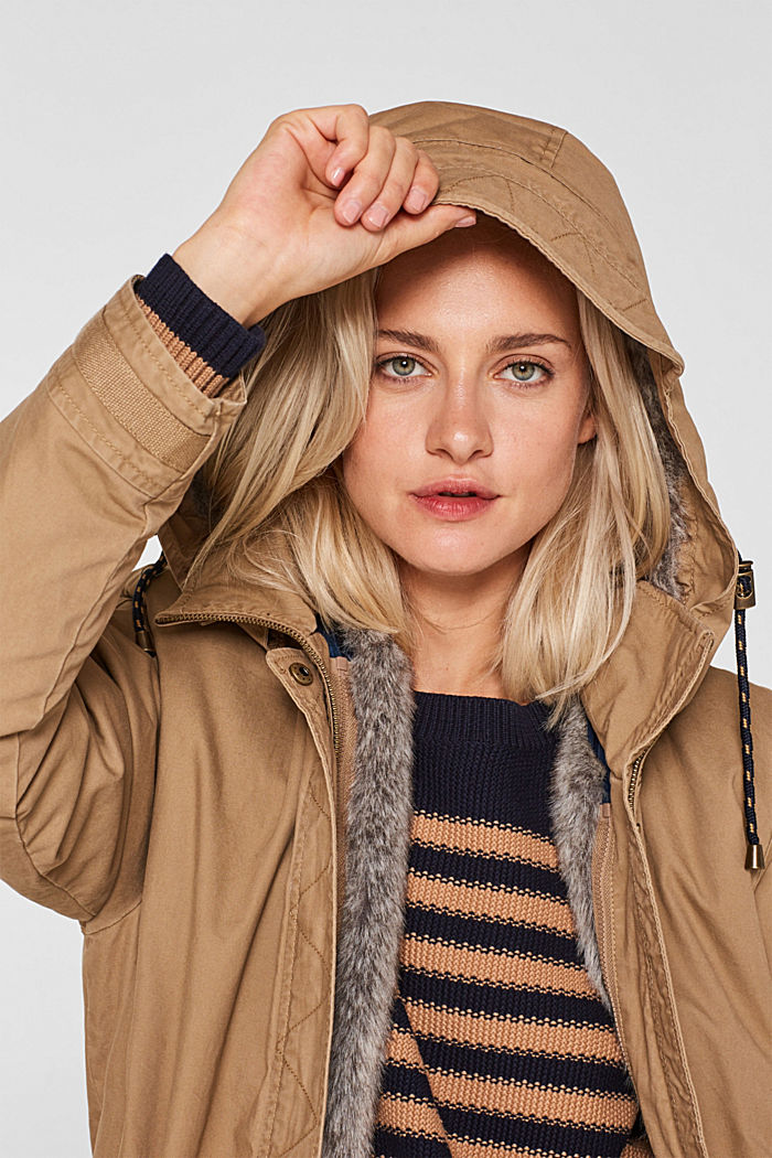 2-in-1 parka with an integrated faux fur jacket, BARK, detail image number 6