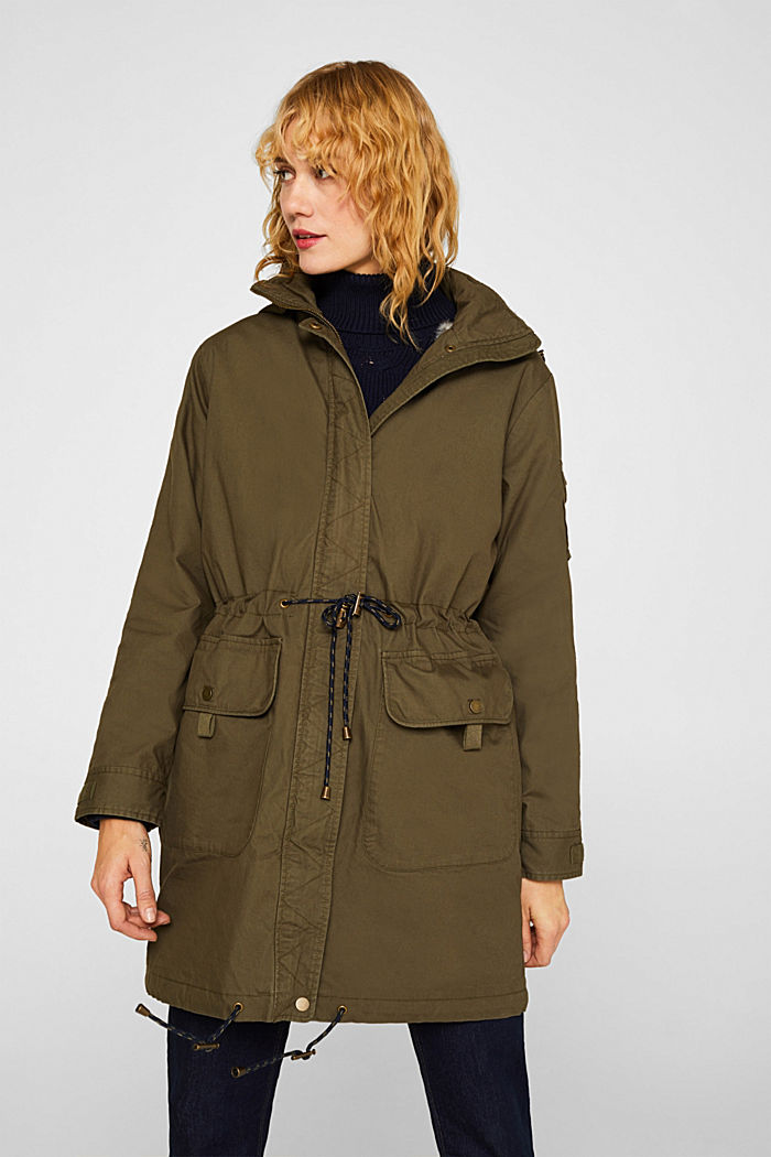 2-in-1 parka with an integrated faux fur jacket, KHAKI GREEN, detail image number 0