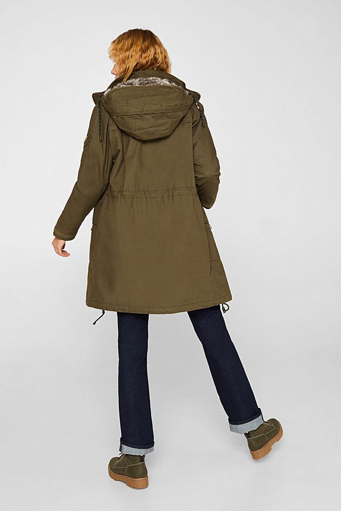 2-in-1 parka with an integrated faux fur jacket, KHAKI GREEN, detail image number 3