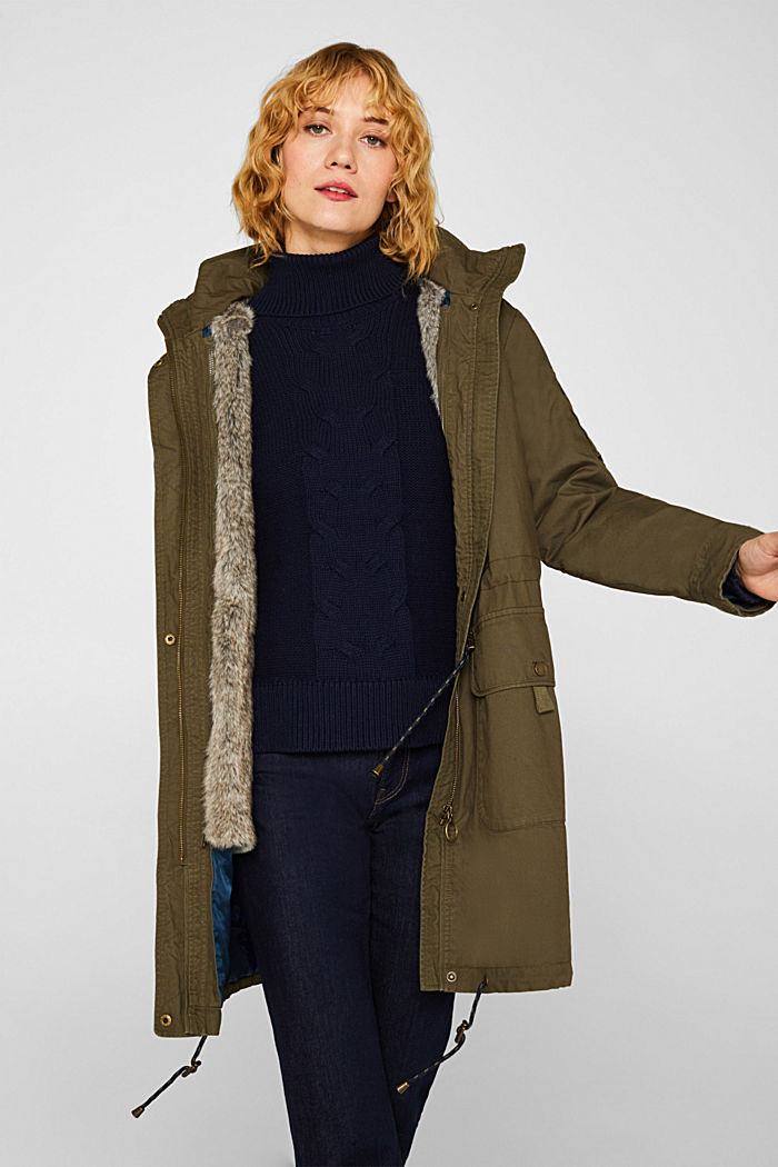 2-in-1 parka with an integrated faux fur jacket, KHAKI GREEN, detail image number 6