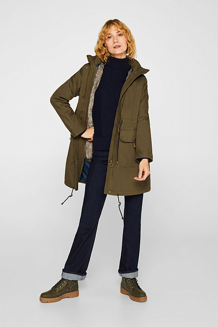 2-in-1 parka with an integrated faux fur jacket, KHAKI GREEN, detail image number 1