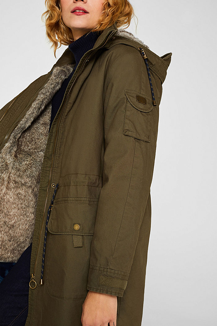 2-in-1 parka with an integrated faux fur jacket, KHAKI GREEN, detail image number 2
