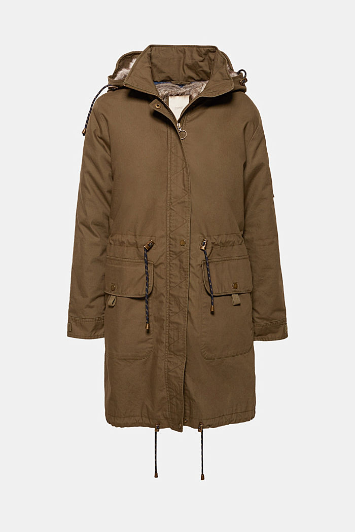 2-in-1 parka with an integrated faux fur jacket, KHAKI GREEN, detail image number 8