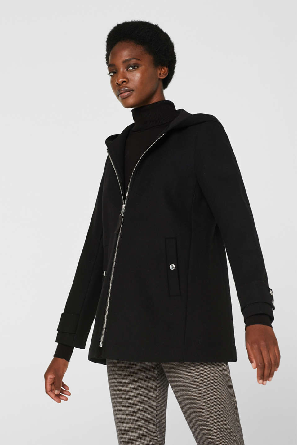 Esprit - Wool blend: padded zip-up jacket