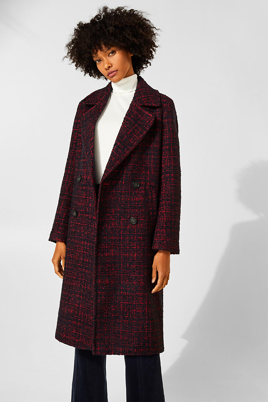 Double-breasted bouclé coat with wool
