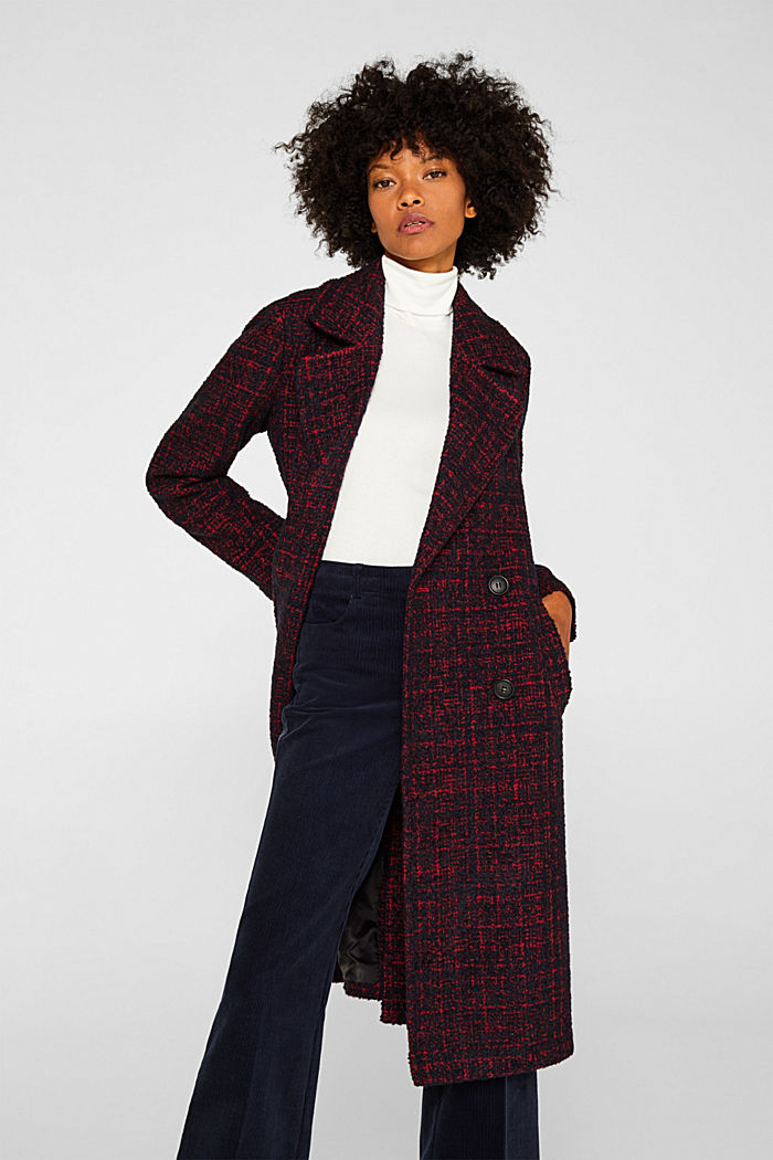 Double-breasted bouclé coat with wool, DARK RED, detail image number 6
