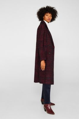 Double-breasted bouclé coat with wool, DARK RED, detail
