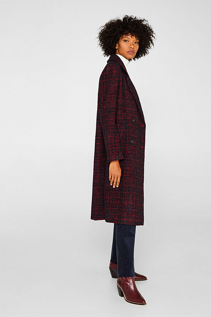 Double-breasted bouclé coat with wool, DARK RED, detail image number 1
